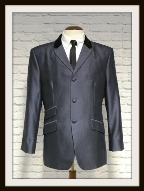 """Lennon"" Charcoal Shark skin Tonic Suit With Velvet Collar"